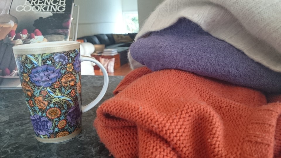 That wonderful moment when you casually throw some garments down on a bench and they match the cup your son has bought you for Mother's day.