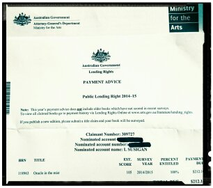 I was thrilled to get a cheque for $212 from the Ministry of the Arts as my books had been borrowed 99 times from libraries.